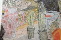 (Ref - 6: JJ3) Still Life with Pink Jug, pencil and pastel on paper, 34 x 33 cms, £235, framed