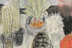 (Ref - 15: JJ1) Still Life with Pine Cone, pencil and pastel on paper, 34 x 33 cms, £235, framed