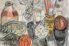 (Ref - 5: JJ4) Still Life with Plant, pencil and pastel on paper, 34 x 33 cms, £235, framed