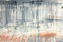 Rain and Land 1, Hazel Barron-Cooper, Watercolour, 76cms x 28cms, £120, HBC 19