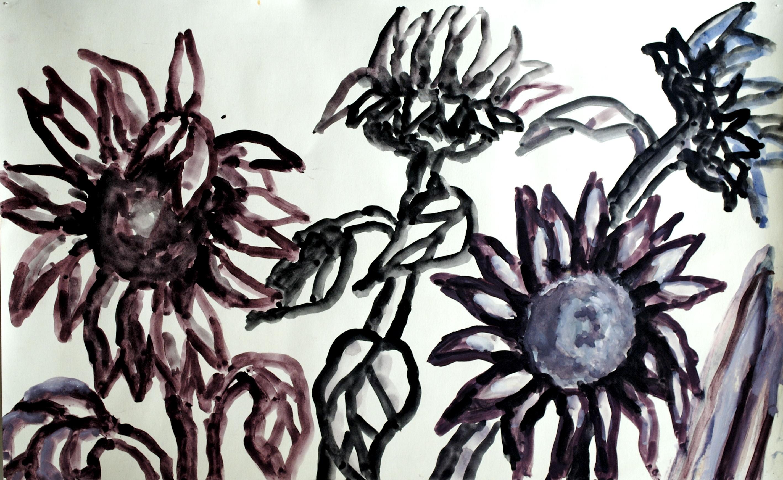 Sunflower and Artichokes on Blue, purple & black [aac-95]