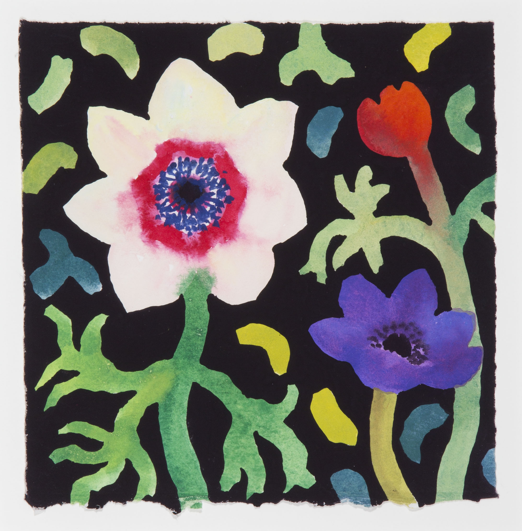 White Anemone, Purple and Red Bud [202-00]