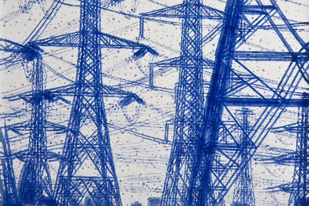 Pylons: stack-fuse with screen printing on Bullseye Glass 16 x 18.5 x 1.5 cm