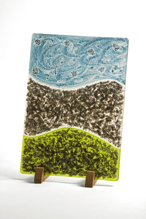 Primordial: Stack-fuse, Bullseye glass, frits, copper oxide and copper wire inclusions 37 x 25 x 1.5 cm