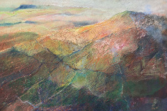 """Title: Howgills - Type: Mixed media, canvas 1""""wide wood frame - Size: 625x425 including frame - Ref: ART23J/F - Cost: £300 Gallery, £100 Foodbank"""