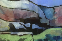 Title: Blue Hill - Type: Oil, black frame, glass - Size: 330x330 including frame - Ref,: ART14J/F - Cost: £112 Gallery, £38 Foodbank