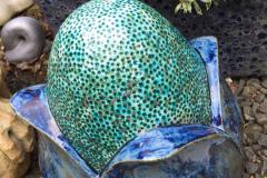 Title: FLOWERHEAD, blue/green glaze - Ref: DKSCU17 - Cost: £475